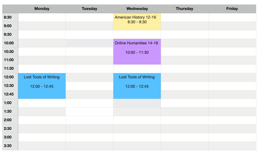Teaching Schedule 2018-2019